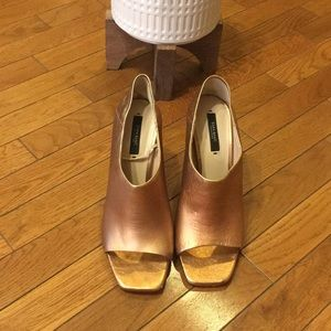 Zara  basic metallic bronze chunky heel.